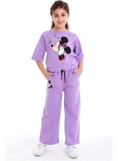 Riccotarz Kız Çocuk Boncuk Detaylı Mickey Mouse Alt Üst Takım Mor